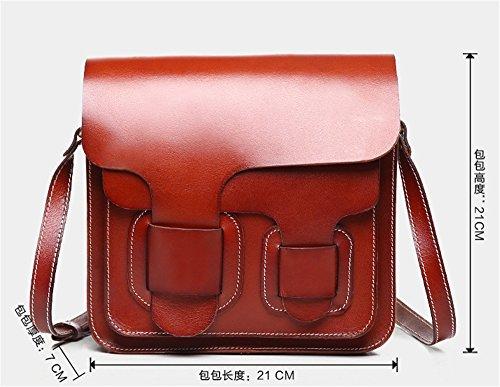 Bolsos de cuero curtido vegetal XinMaoYuan Ocio Retro Messenger de hombro de cuero de vaca señoras bolso pequeño cuadrado Brown