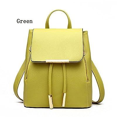 Women Leather Shoulder Bag Travel Camping Backpacks Schoolbags (Green)
