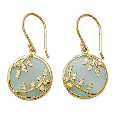 NOVICA Multi-Gem Chalcedony 18k Gold Plated 925 Sterling Silver Vermeil Earrings 'Dewdrop Nature'