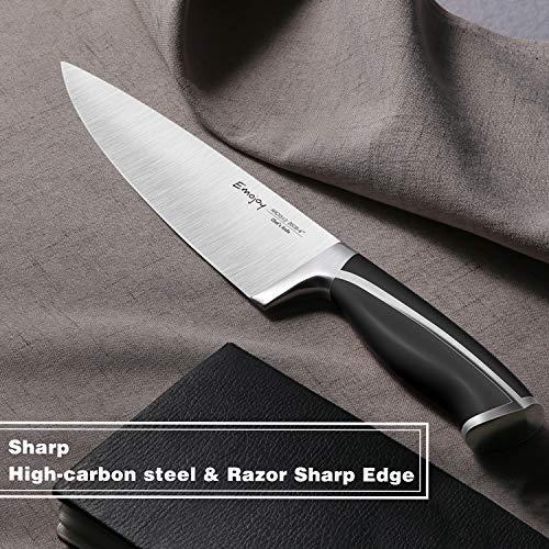Emojoy Knife Set, 15-Piece Kitchen Knife Set with Block, ABS Handle for Chef Knife Set, German Stainless Steel, by Emojoy (Black) by Emojoy  (Image #8)