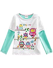 VIKITA Manga Larga Algodón Floral Camisetas T-Shirt Niñas