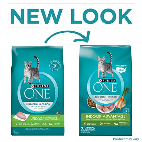 Purina ONE Hairball, Weight Control, Indoor, Natural Dry Cat Food, Indoor Advantage - 16 lb. Bag
