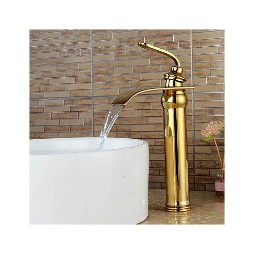 cheap W&P Ti-PVD Waterfall Bathroom Sink Faucet -Gold