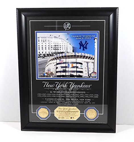 - Highland Mint NY Yankees Photo with 2 Coins and Etched Glass Framed DA025190