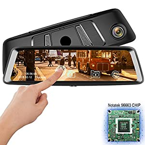 """10""""Dash Cam Car DVR Stream Media Dual Lens Mirror Full Touch Screen HDR Reversing Backup Camera kit, Front and Rearview Camera Sony Sensor1080P HDR night vision Rear rear view mirror video Recorde from YANDA"""