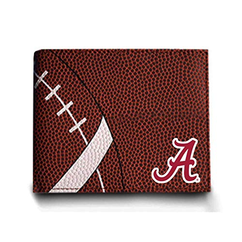 Zumer Sport Alabama Crimson Tide Football Leather Bifold Wallet - Made from Actual Ball Materials - Many Slots for Cards - Great for Men or Boys - Brown