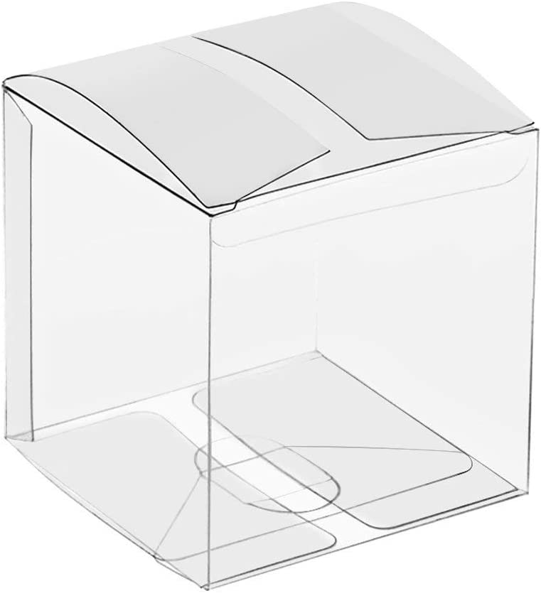 COMFECTO Clear Boxes for Favors 4x4x4, 50 pcs Transparent Gift Box for Macaron Cupcake Candy Cookies Ornament Gifts Wedding Party Baby Shower, Single Individual Packaging for Display