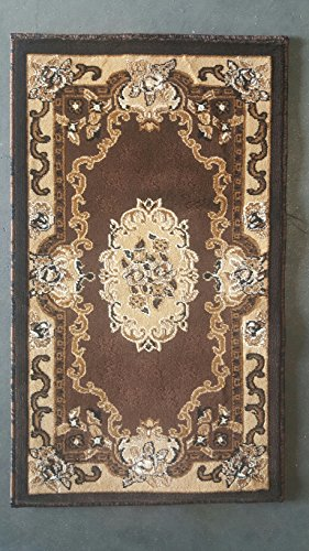 - Kingdom Traditional Door Mat Oriental Aubusson Area Rug Chocolate Brown Beige Design D121 (2 Feet X 3 Feet 4 Inch)