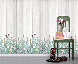 wall26 - Seamless Pattern Wall Mural - Various Kinds of Flowers on Wood Background | Self-adhesive Vinyl Wallpaper / Removable Modern Wall Decor - 192x108 inches