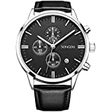 SONGDU Date Multifunction Chronograph Watches For Men Online Stopwatch Black Leather Strap Luminous Hands