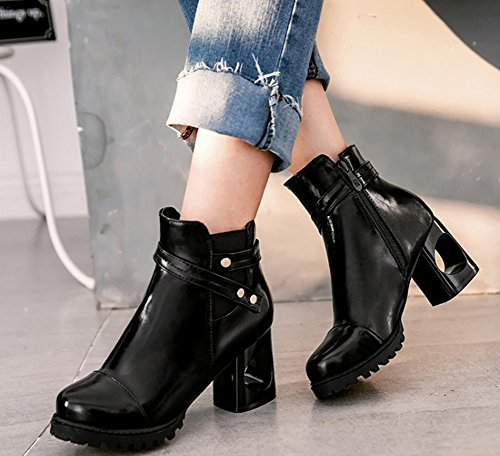 Top Aisun Short Zip Black Boots Women's Toe Chic Up Round gqv1R0T