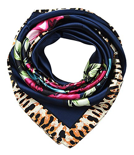 Large Square Satin Silk Like Lightweight Scarfs Hair Sleeping Wraps for Women Leopard Oxford Blue Floral Flowers Pattern Blue Satin Leopard