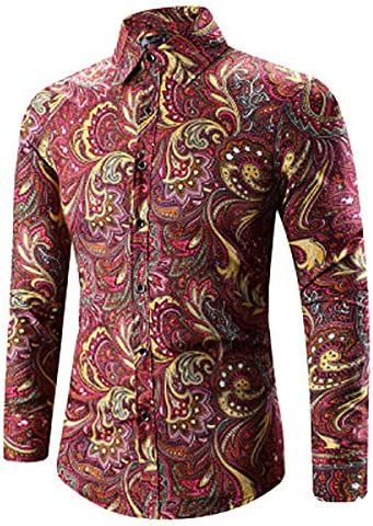 Whj Mens Print Shirt lace Button Shirt Casual Long Sleeve Short Sleeve Fitting Western Paisley Shirt