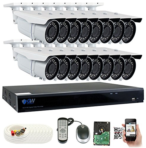 GW 5 Megapixel HD 1920P Complete Security System | (16) x 5MP Outdoor 3.3-12mm Varifocal Zoom Bullet Security Cameras, 16-Channel Plug and Play 5-in-1 DVR, True 5MP Double The Resolution of 2MP 1080P Review