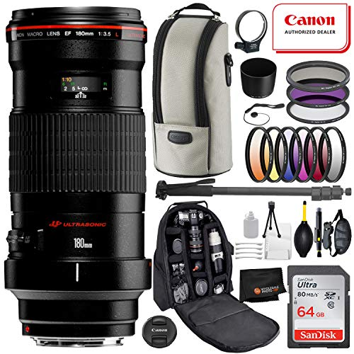 Canon EF 180mm f/3.5L Macro USM Lens with Professional Bundle Package Deal Kit for EOS 7D Mark II, 6D Mark II, 5D Mark IV, 5D S R, 5D S, 5D Mark III, 80D, 70D, 77D, T5, T6, T6s, T7i, SL2