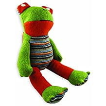 """Cate and Levi 20"""" Handmade Frog Stuffed Animal (Premium Reclaimed Wool), Colors Will Vary"""
