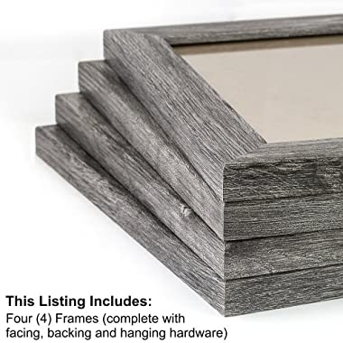 Craig Frames 26030 8 by 10-Inch Picture Frame 4-Piece Set, Smooth Finish, 1.25-Inch Wide, Gray Barnwood