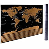Large Scratch-Off World Map Wall Poster with Colorful Flags for Countries Visited, Clear Outlined U.S.A. States, Gift Idea for Travelers,Family Vacation Activity, Geography Educational Tool