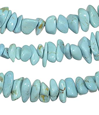 """Blue Kingman Stabilized Turquoise Graduated Nugget Necklace 18"""" from ugems"""