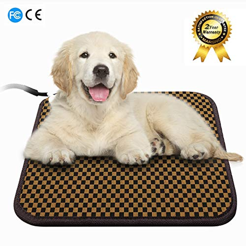 JYBL Pet Heating Pad-Dog & Cat Heating Mat-Over Heat Protection & Adjustable Temperature-Indoor Waterproof Warming Heat Pad with Chew Resistant Steel Cord for Dogs, Cats, Rabbits