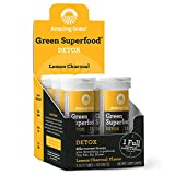 Amazing Grass Detox: Detoxifying Tablets, Lemon Charcoal Flavor, Box of 6 Tubes (60 servings), with Antioxidant for full body recovery & One Serving of Greens