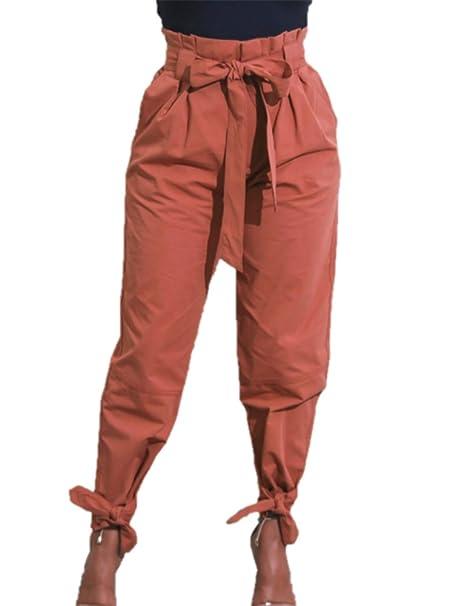 Pantalones lápiz para mujer Pantalones de cintura alta de color sólido con  bolsillos y cintura para mujer Pantalones Capris de cintura elástica  ajustados ... 85f1be4c009