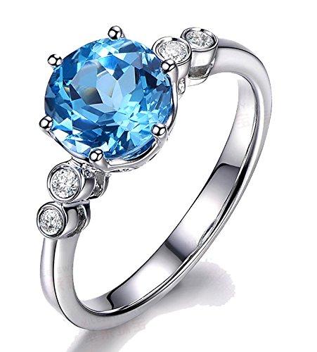 1 Carat perfecto Azul topacio y el anillo de compromiso de diamantes en oro blanco