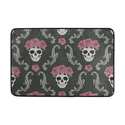 All Weather Damask Rug (Cooper girl Damask Skull Flower Floral Doormat Floor Mat Washable Home Entrance Rug 23.6x15.7 Inch)