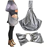 LPET Small Dog Cat Sling Carrier Bag Pet Shoulder Bag Travel Tote Puppy Kitty Rabbit Double-Sided Pouch (Gray)