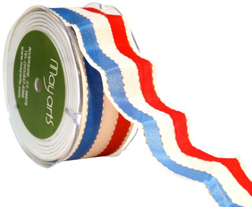 May Arts 1-1/2-Inch Wide Ribbon, Red and Blue Stripe ()