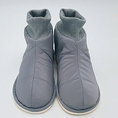 LaxBa Invierno patinar en zapatillas forradas cálida piel falsa nieve gris Zapatos para hombres,260