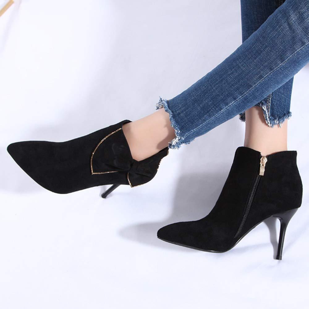 LIUYL Damen Damen Damen Mid Stiletto Stiefeletten Spitz Toe Bow Faux Wildleder Stiefelies Schuhe Reißverschluss Club Abend Short Stiefel 97765d