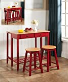 Kitchen Bar Nook Kings Brand Furniture 3 Piece Kitchen Island Breakfast Bar Set Drop Down Table & 2 Stools