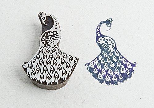 Blockwallah Proud Peacock Wooden Block Stamp