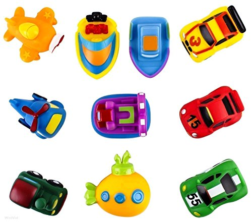WolVol Pack of 10 Kids Bath Toys Floating Bathtub Toy Cars Train Boat Aircraft Vehicles