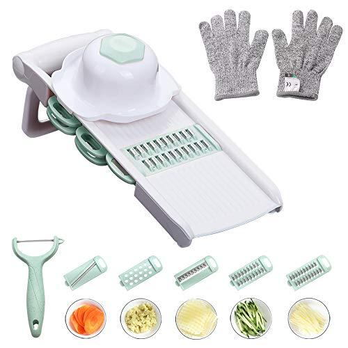 WORTHBUY Mandoline Slicer with Cut-Resistant Gloves, Hand Protector and Peeler - Multi Blade Adjustable Mandolin Vegetable Slicer and Potato Chips Cutter, Food Slicer, Vegetable Julienne(Green)