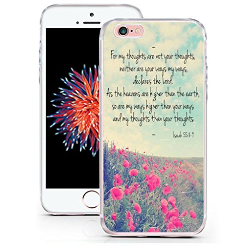 (6 Case Bible Verses - CCLOT Flexible Cover Protector Compatible Replacement For Iphone 6/6S Christian Quotes About Life Inspiration Isaiah 55:8-9 (TPU Protective Silicone Bumper)