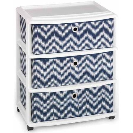 Homz Wide Cart with 3 Fabric Drawers, Blue Chevron