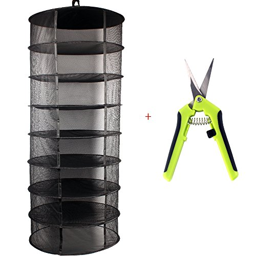 2' Net Pot - Growsun 2ft 8 Layer Black Mesh Hanging Herb Drying Rack Dry Net With Shears