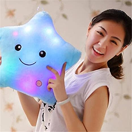 Blue Kenmont Bright Light up Colorful Glowing LED Pillows Luminous Star Plush Pillows Cushions Kids Cosy Plush Soft Toys Doll Relax Nursery Gifts Standard Pillows