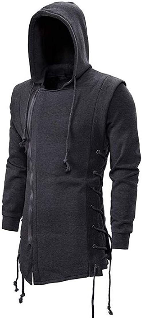 CRYYU Men Fashion Gothic Punk Zip-Up Drawstring Hoodie Slim Sweatshirt Jacket