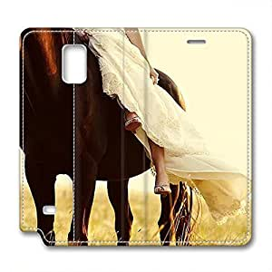 iCustomonline Leather Case for Samsung galaxy Note 4, horse Stylish Durable Leather Case for Samsung galaxy Note 4