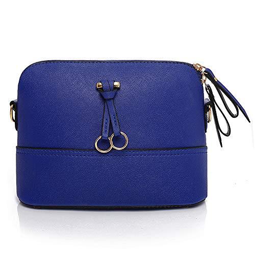 Clearance Sale! ZOMUSAR Women Fashion PU Leather Zipper Small Deer Splice Handbag Shoulder Shell Bag Shiny Crossbody Tote Bag (Blue ) by ZOMUSAR (Image #1)