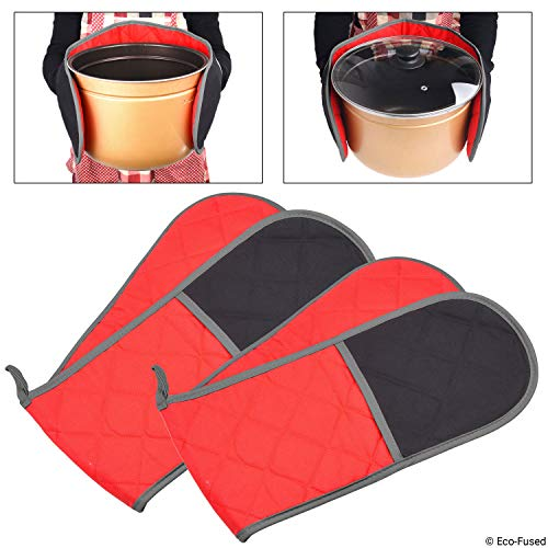 Double Oven Mitts - Set of 2 - Wrap and Grab Design - Protects your Hands, Arms and Torso - Red and Black Quilted Cotton Lining with Taupe Piping - Hanging Loop - Also Works as Utensil Pouch or Trivet (Two Oven Mitts)