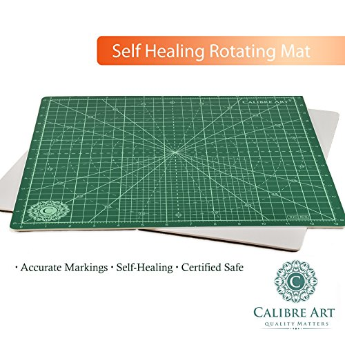 Calibre Art Rotating Self Healing Cutting Mat, Perfect for Quilting & Art Projects, 14x14 (13'' grid) by Calibre Art