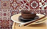wall tile designs Tiva Design Peel and Stick Wall Tile Sticker Art Kitchen Eclectic Set of 24 Stickers 4x4 Inches - (Maroon Red)