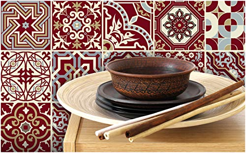 Tiva Design Peel and Stick Wall Tile Sticker Art Kitchen Eclectic Set of 24 Stickers 4x4 Inches - (Maroon Red)