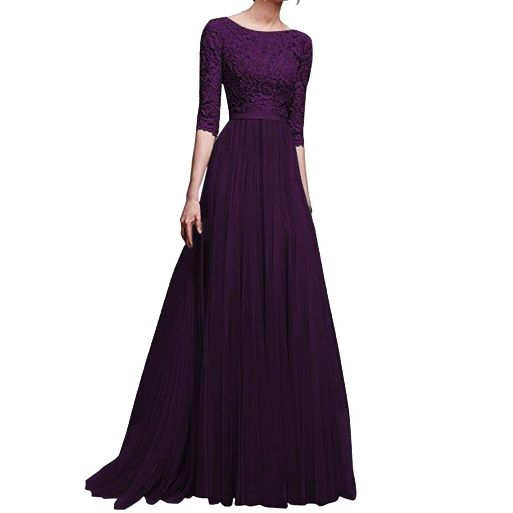 Usstore  Women Bridesmaid Lace Gown Formal Wedding Evening Party Prom Ball Cocktail Maxi Dress
