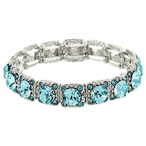 Falari Crystal Stretch Bracelet (Aquamarine) - Bracelet Aquamarine Crystal