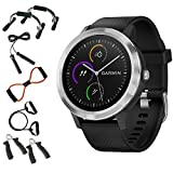 Garmin 010-01769-01 Vivoactive 3 GPS Fitness Smartwatch (Black & Stainless) + 7-in-1 Total Resistance Fitness Kit + Charging & Data Transfer Cable + Universal Travel Wall Charger
